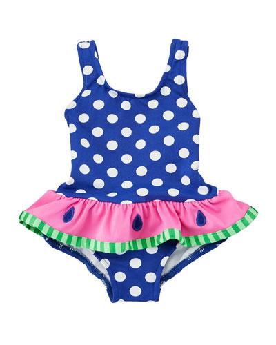 Stripe OnePiece Swimsuit w Watermelon Ruffle Size 26X