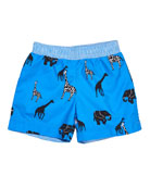 Safari-Print Swim Trunks, Size 6-24 Months