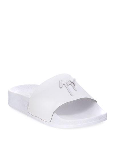 Birel Leather Slide Sandal, White, Toddler/Youth Sizes 9T-2Y