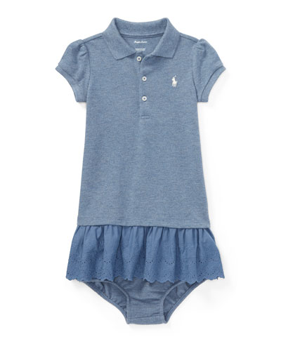 Mesh Eyelet Polo Dress w/ Bloomers, Size 6-24 Months