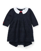 Scallop-Hem Knit Dress w/ Bloomers, Size 3-24 Months
