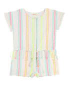 Short-Sleeve Woven Striped Romper, Size 4-8
