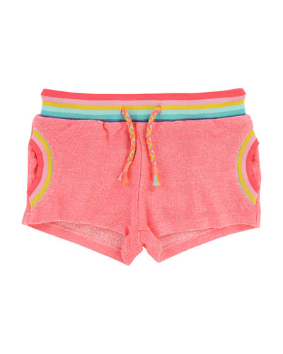 Knit Shorts w/ Rainbow Ribbed Trim, Size 2-8