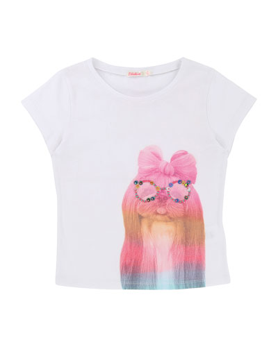 Short-Sleeve T-Shirt w/ Rainbow Dog, Size 2-8