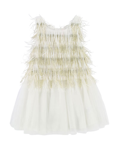 Sleeveless Tulle & Fringe Dress, Size 3-8