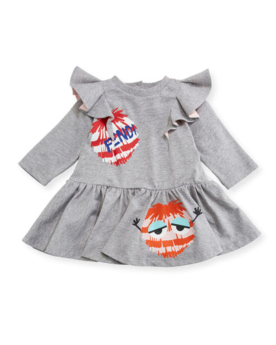 Fur Pompom Fit & Flare Dress, Size 12-24 Months