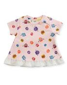 Girls' Short-Sleeve Pompom Monster Graphic T-Shirt, Size 3-9 Months