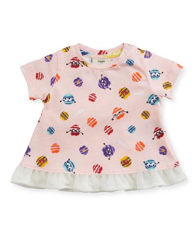 Girls' Short-Sleeve Pompom Monster Graphic T-Shirt, Size 12-24 Months