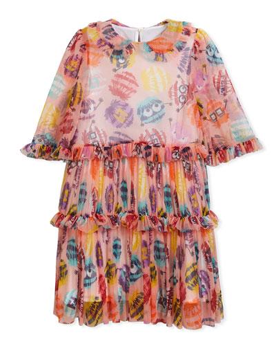 Collared Dress w/ Monster Pompom Print, Size 3-5