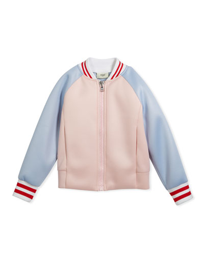 Colorblock Varsity Jacket w/ Logo Back, Size 10-14