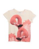 Short-Sleeve Flamingos T-Shirt, Size 4-5