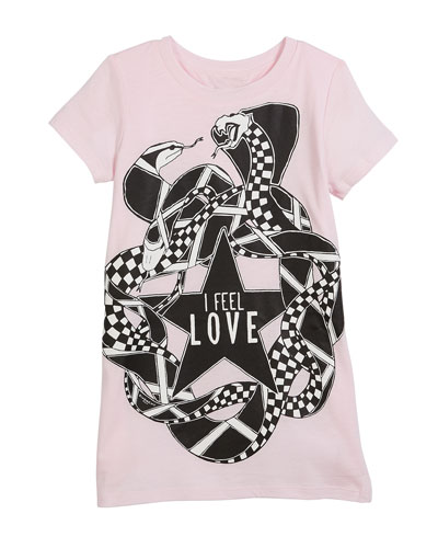 I Feel Love Snakes Jersey Shirt Dress, Size 4-5