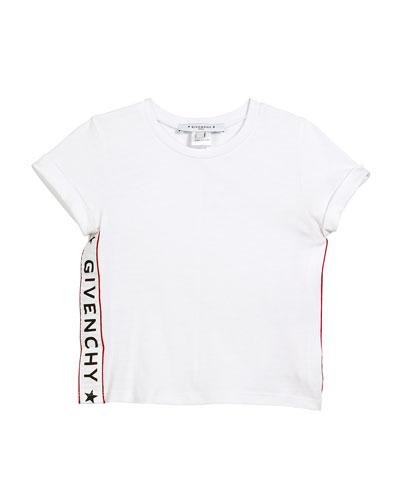 Cotton-Blend T-Shirt w/ Logo Sides, Size 4-5