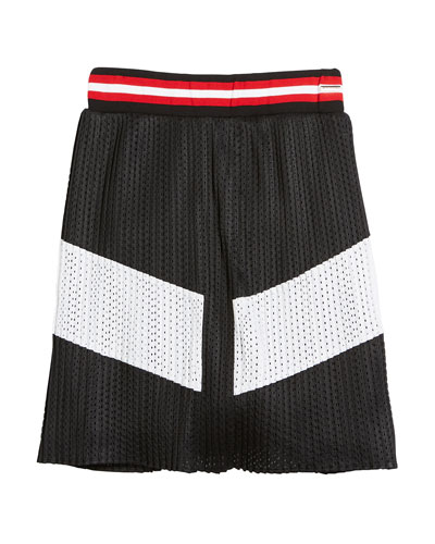 Two-Tone Pleated Mesh Skirt, Size 12