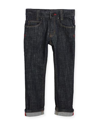 Denim Trousers w/ Leather Trim, Size 6-10