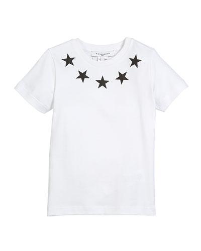 Short-Sleeve Stars-Collar Cotton T-Shirt, Size 4-5
