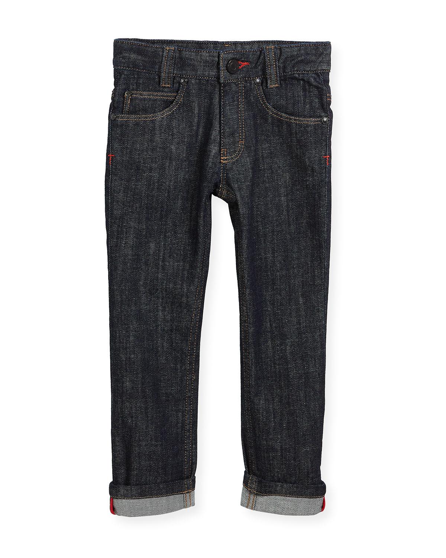 Denim Trousers w/ Leather Trim, Size 12