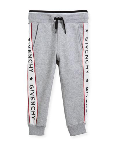 Cotton-Blend Jersey Sweatpants w/ Logo Sides, Size 6-10