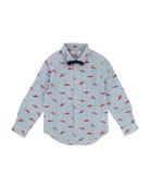 Striped Poplin Button-Down Shirt w/ Shark Print & Bow Tie, Size 2-8