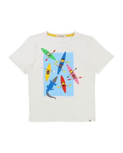Cotton T-Shirt w/ Paddle Boats Graphic, Size 2-8