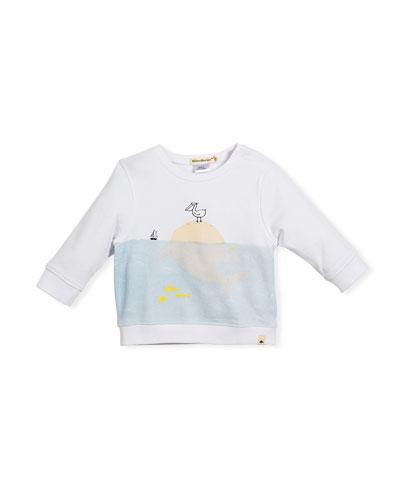 Whale in Ocean Sweatshirt, Size 12M-3