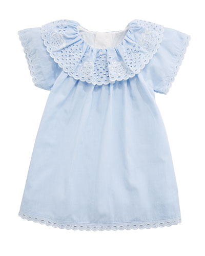Cotton Dress w/ Eyelet Ruffle Collar, Size 6-18 Months