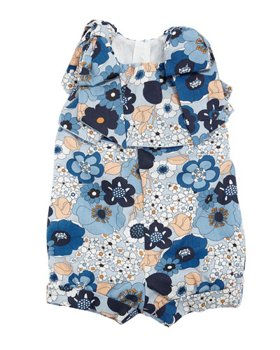 Allover Flower-Print Playsuit w/ Bow Shoulders, Size 2-3