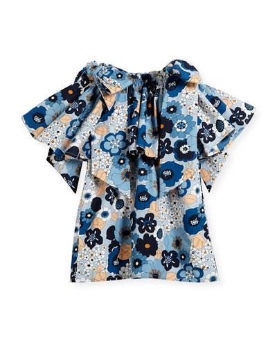 Mini Me Floral Bow-Shoulder Dress, Sizes 12-14