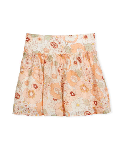 Pleated Floral Skirt, Size 6-10