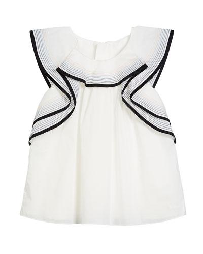 Flutter-Sleeve Cotton Blouse w/ Stitching Details, Size 6-10