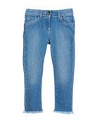 Raw-Hem Scallop Denim Jeans, Size 6-10