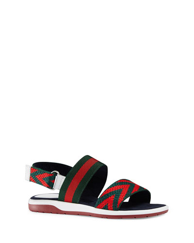 Chevron Leather Sandal, Green/Red, Toddler/Youth Sizes 10T-2Y