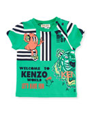 Multi-Food Icon Tiger Striped T-Shirt, Green, Size 12-18 Months
