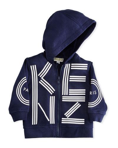 Zip-Up Hoodie w/ Logo, Blue, Size 2-3