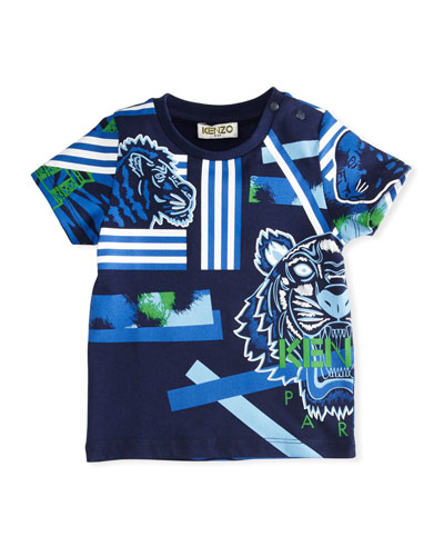 Multi-Icon Tiger Striped T-Shirt, Navy, Size 12-18 Months
