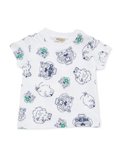 Allover Tiger Face T-Shirt, White, Size 6-18 Months