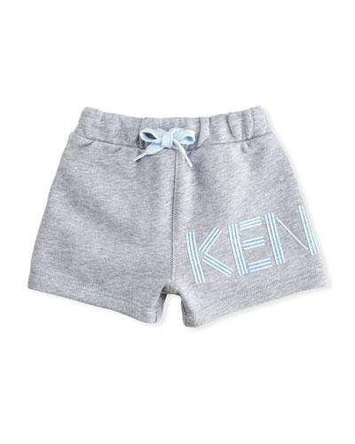 Cotton Drawstring Shorts w/ Logo Detail, Gray, Size 2-3