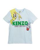 Croissant Logo T-Shirt, Blue, Size 4-6