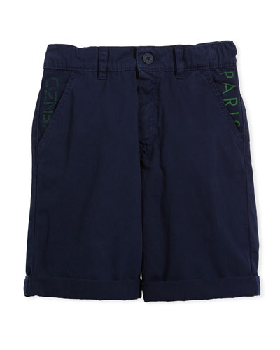 Chino Shorts w/ Logo Pockets, Navy, Size 8-12