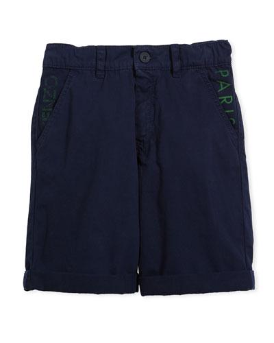 Chino Shorts w/ Logo Pockets, Navy, Size 4-6