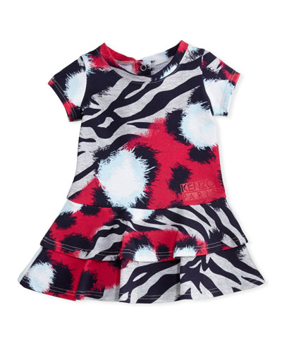 Animal-Print Tiered Dress, Pink, Size 2-3