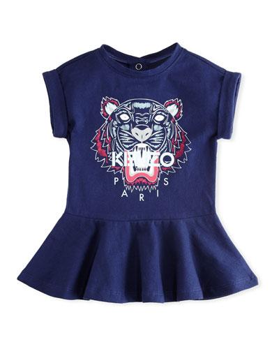 Tiger Face Drop-Waist Dress, Navy, Size 2-3