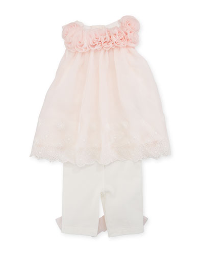 Sleeveless Rosette Top w/ Bow Leggings, Size 3-9 Months
