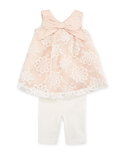 Lace-Overlay Sleeveless Top w/ Leggings, Size 3-24 Months