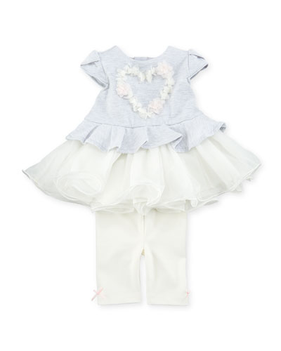 Tutu Heart Blouse w/ Matching Leggings, Size 3-24 Months
