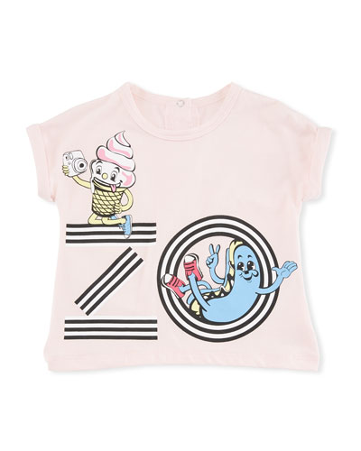 Ice Cream Logo Graphic T-Shirt, Pink, Size 2-3
