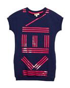 Short-Sleeve Logo Dress, Size 14-16