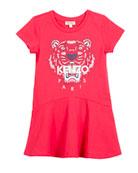 Short-Sleeve Tiger Logo Dress, Size 4-6