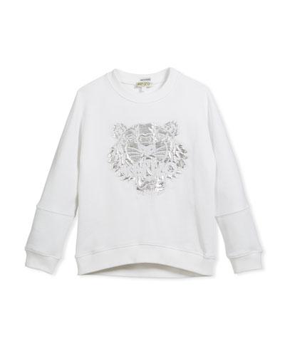 Drop-Shoulder Sweatshirt w/ Metallic Tiger Face, White, Size 14-16