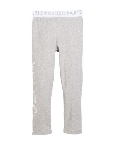 Cotton-Stretch Logo Leggings, Size 14-16